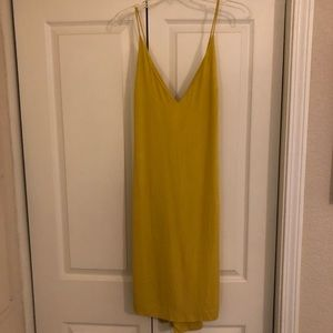 Yellow mid calf cotton dress with cross back
